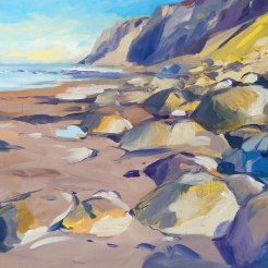 Cliffs, Filey beach walk, 50x60cm, oil on board